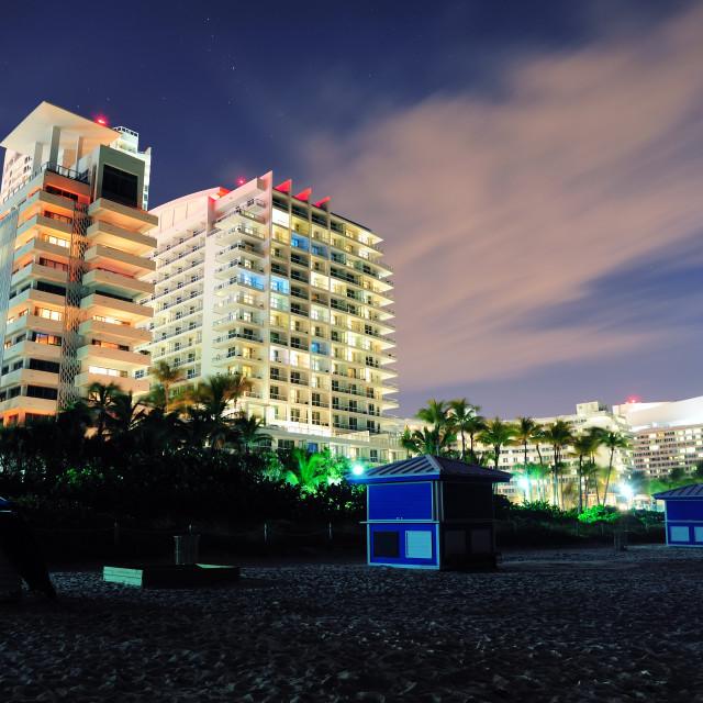 """""""Miami south beach at night"""" stock image"""