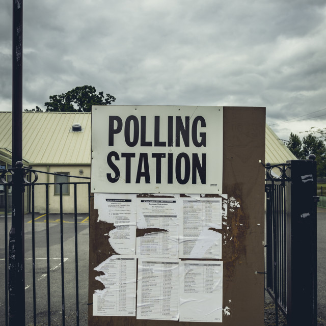 """Britain goes to the polls - polling station sign ahead of EU referendum"" stock image"