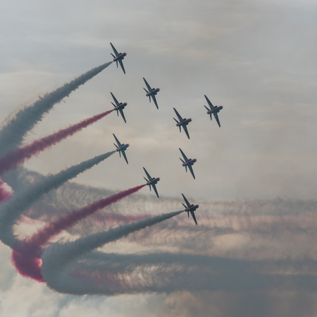 """Red Arrows in the Typhoon formation."" stock image"