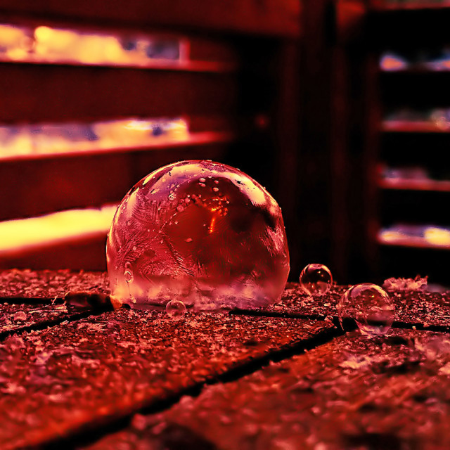 """Frozen Amber Bubbles"" stock image"