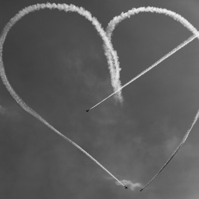 """Heart made by pilots"" stock image"