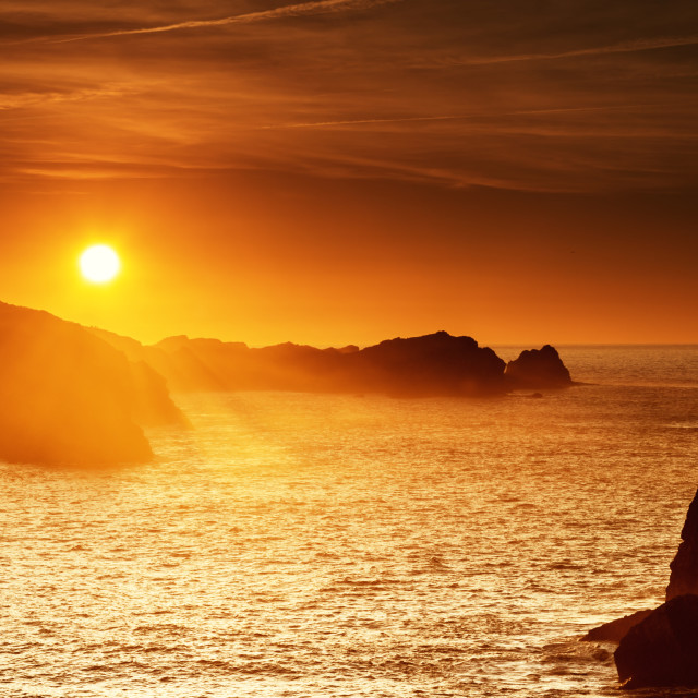 """Sunset at Cantabrian coast"" stock image"