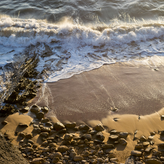 """""""Waves breaking on the beach"""" stock image"""