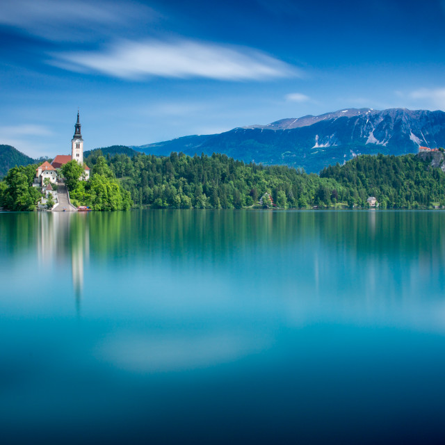 """Dreaming of Lake Bled"" stock image"