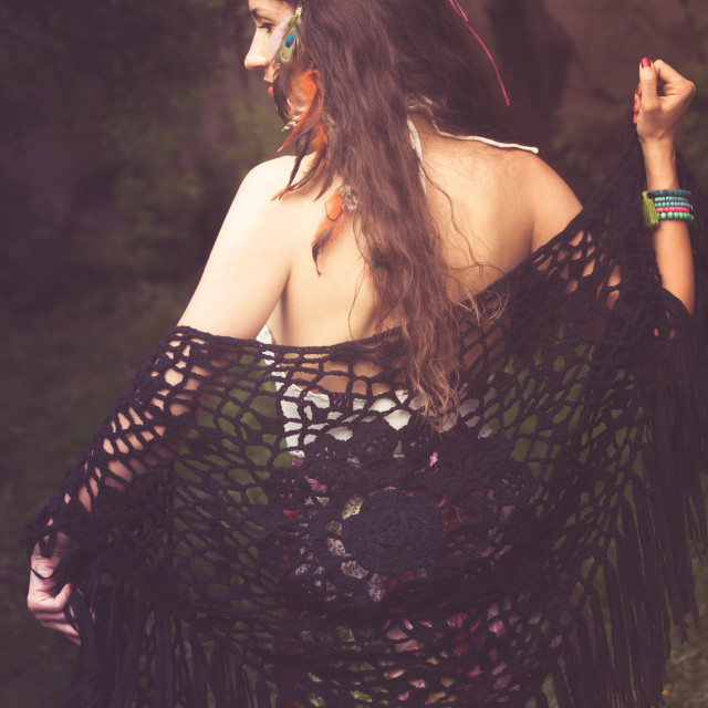 """""""boho girl in summer garden"""" stock image"""