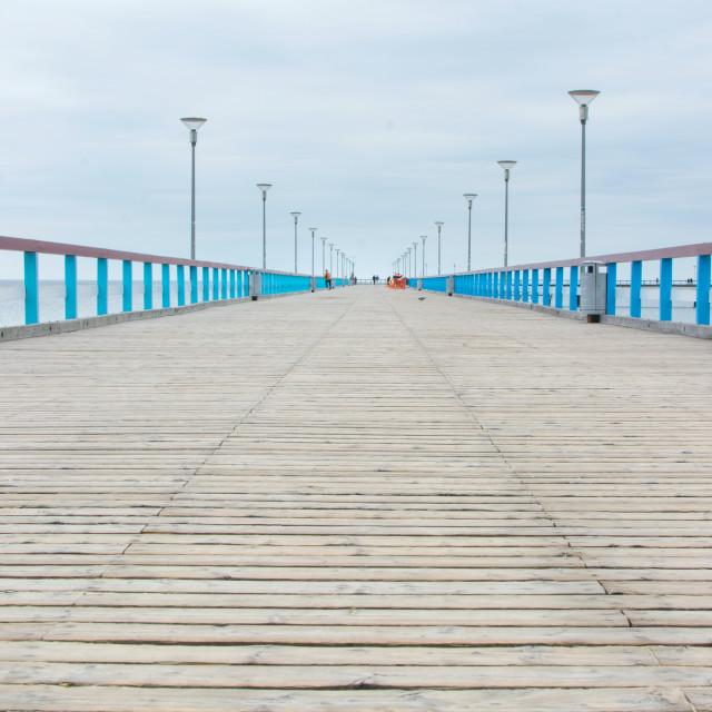 """PALANGA LITHUANIA - JUNE 13: View at the Palanga wooden dock"" stock image"