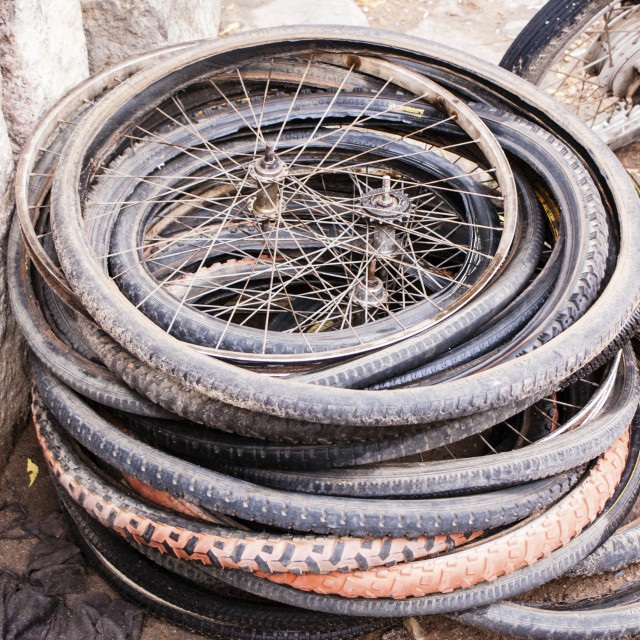 """old bicycle tires and wheels"" stock image"