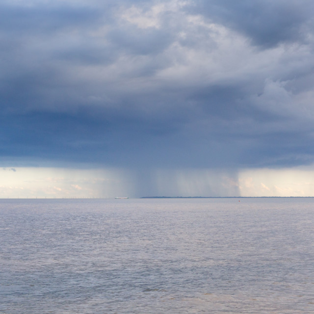 """Storm on the Horizon, The Naze, Essex"" stock image"