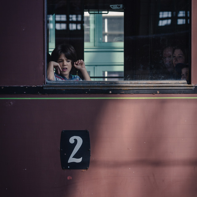 """The boy on Carriage 2"" stock image"