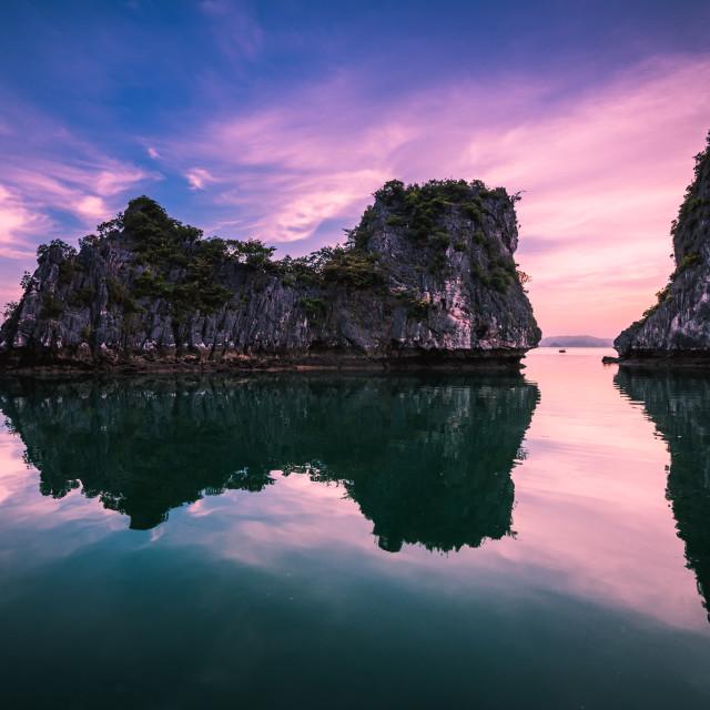 """Sunrise at Bai Tu Long bay"" stock image"