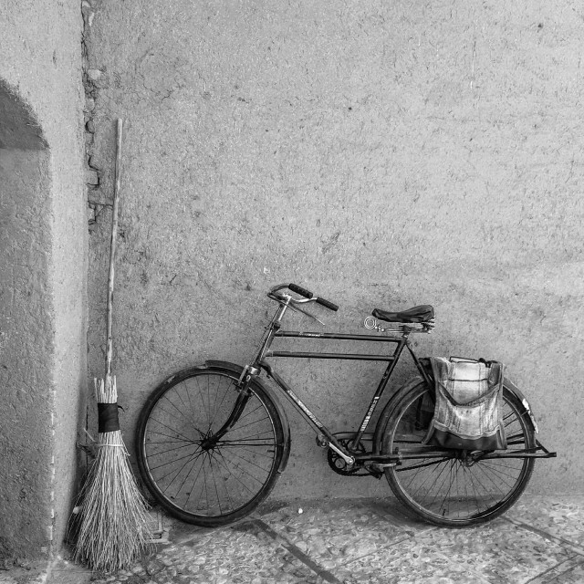 """""""bicycle and mop"""" stock image"""