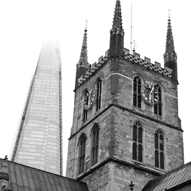 """Southwark Cathedral and the Shard"" stock image"