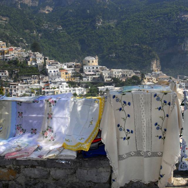 """Campania,Italy; Amalfitan coast: Positano, typical textile works."" stock image"