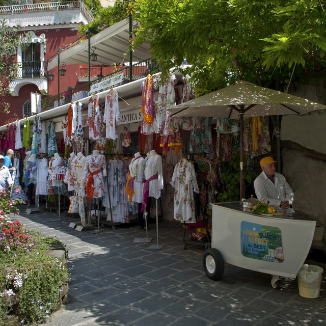 """Campania,Italy; Amalfitan coast: Positano, clothes shop."" stock image"
