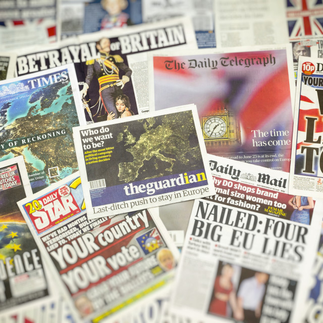 """British newspaper front pages reporting on the eve of the EU Referendum"" stock image"