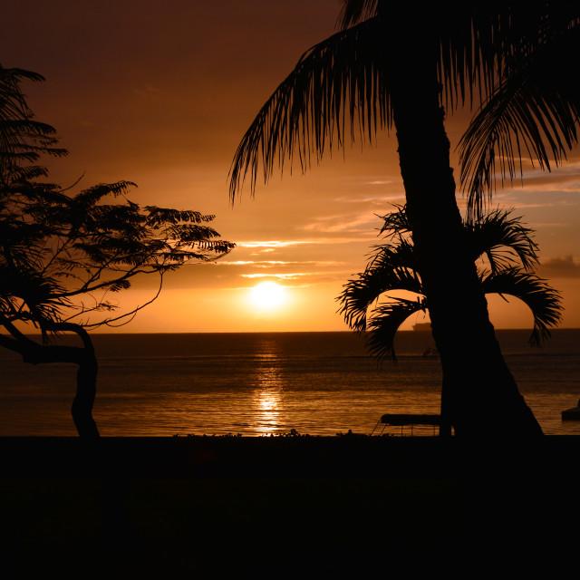 """Sunset in Mauritius"" stock image"
