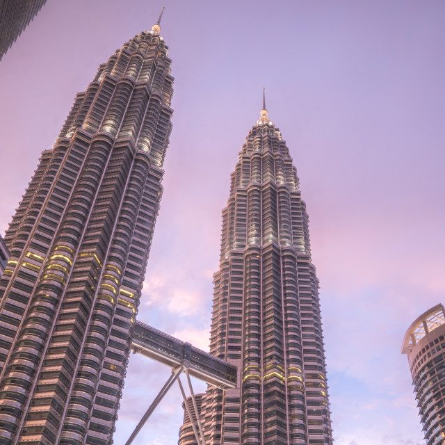 """Pink sky above Petronas Twin Towers"" stock image"