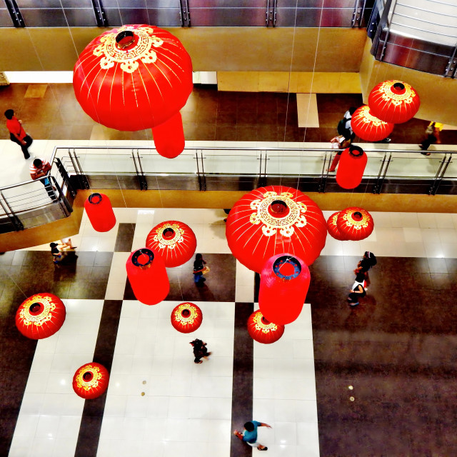 """Chinese Holiday Decor Inside a Philippine Mall"" stock image"