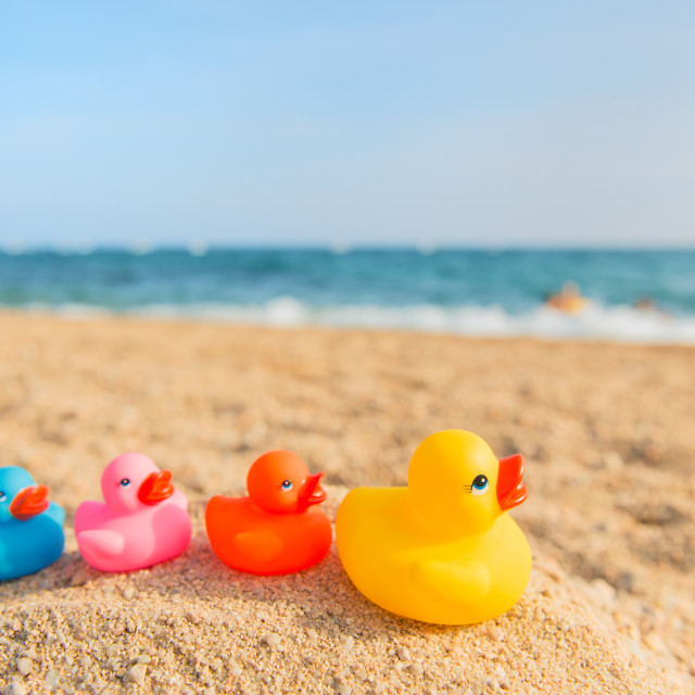 """""""Colorful toys at the summer beach"""" stock image"""