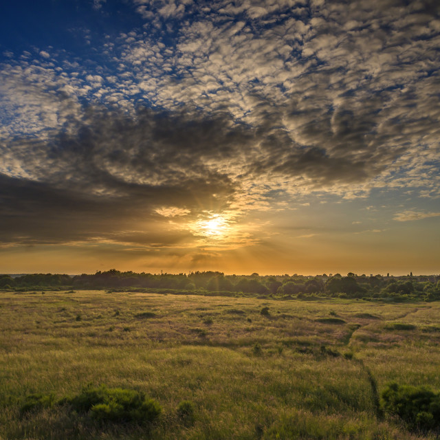 """Sunset over Suffolk Countryside"" stock image"