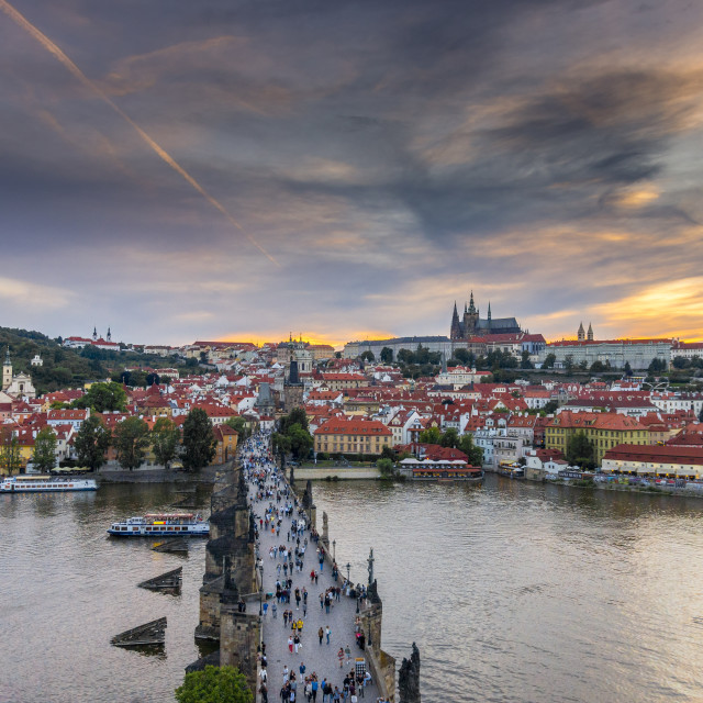 """Prague castle and Charles bridge"" stock image"
