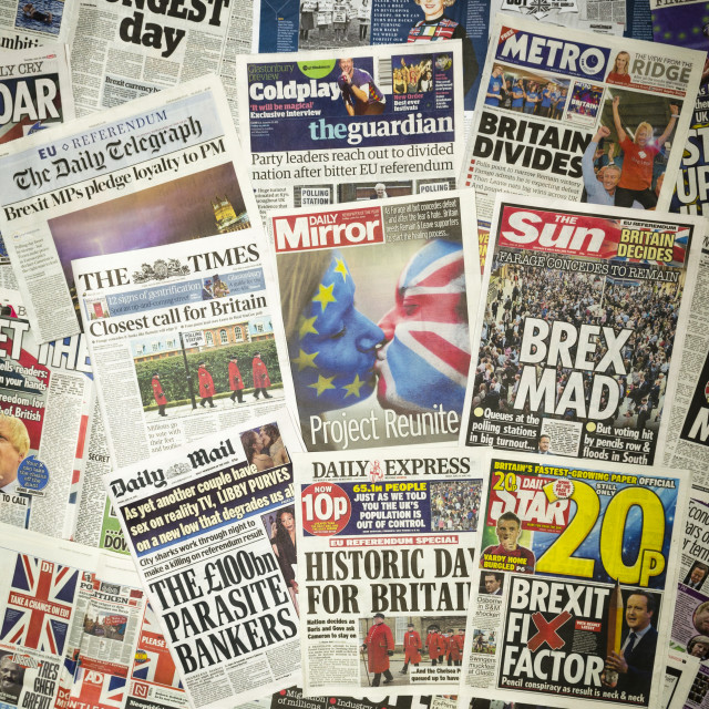"""British newspaper front pages reporting on the day after the EU Referendum"" stock image"