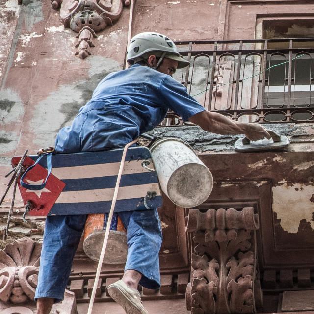 """""""bricklayer in Havana"""" stock image"""