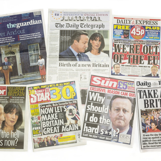 """British newspaper front pages reporting Prime Minister David Cameron resigning after the EU Referendum"" stock image"