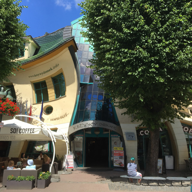 """The Crooked House (Krzywy Domek) in Sopot"" stock image"