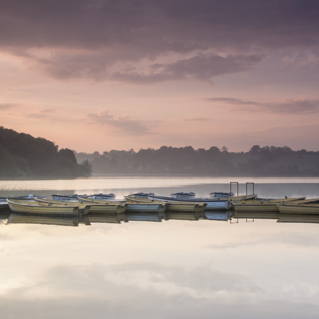 """Sunrise at Thornton Reservoir, Leicestershire."" stock image"