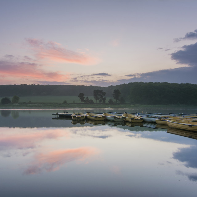 """Just before the sunrise at Thornton Reservoir, Leicestershire."" stock image"