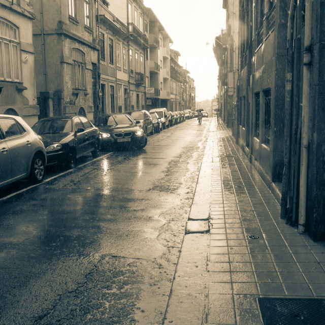 """In Porto on a rainy day"" stock image"