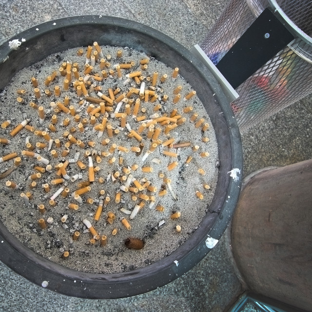 """Cigarette stubs in ashtray"" stock image"