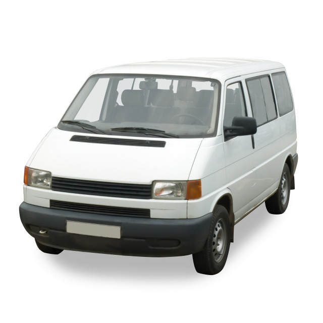 """White passenger minibus on white. Isolated whith clipping path"" stock image"