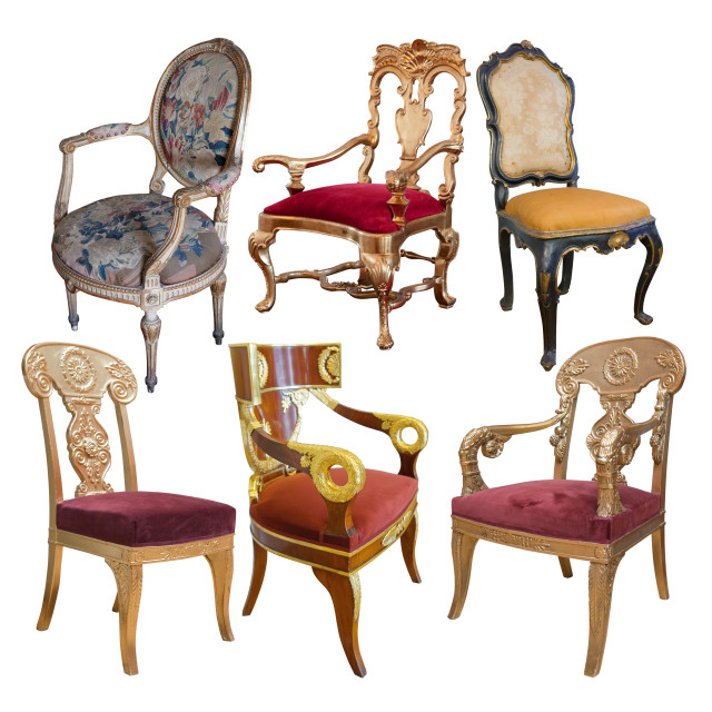 """Few vintage chairs"" stock image"