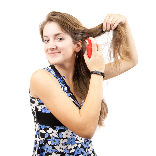 """girl with toilletries spray"" stock image"