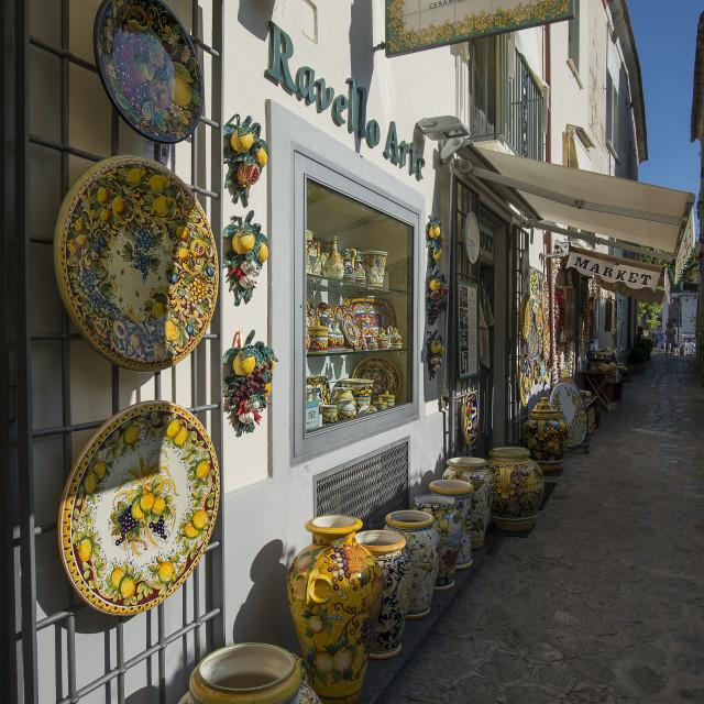 """Amalfitan coast, Ravello; ceramics shop in typical alley."" stock image"