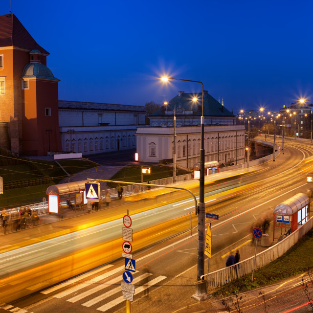 """Street in Warsaw at Night"" stock image"