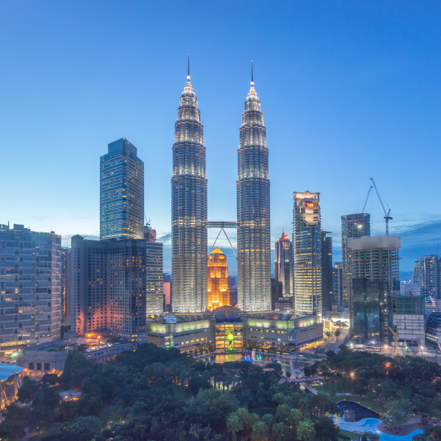 """Aerial view of Kuala Lumper skyline during beautiful clear blue hour"" stock image"