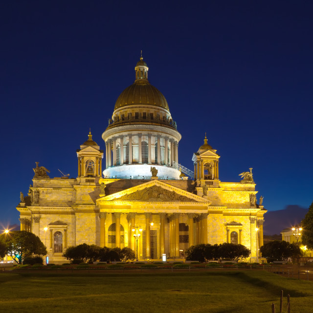 """St. Isaac's Cathedral in summer night"" stock image"