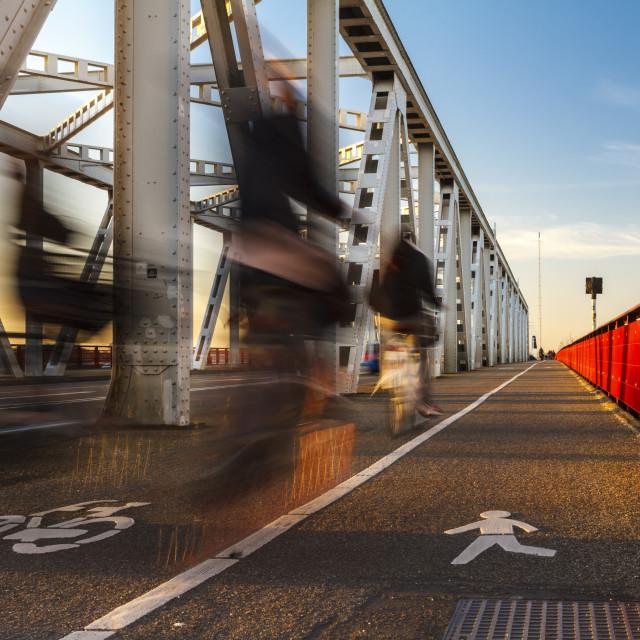 """""""Crossing the bridge"""" stock image"""