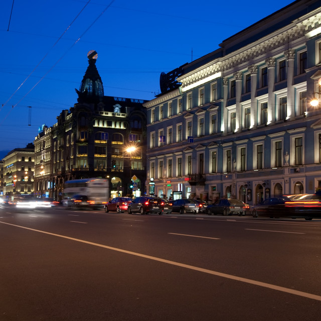 """Nevskiy prospekt at night"" stock image"