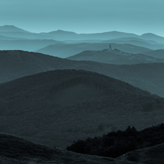 """The blue mountains of Bulgaria"" stock image"