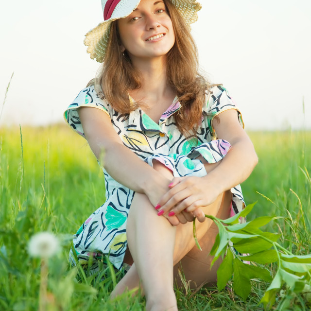 """""""long-haired teen girl in hat"""" stock image"""