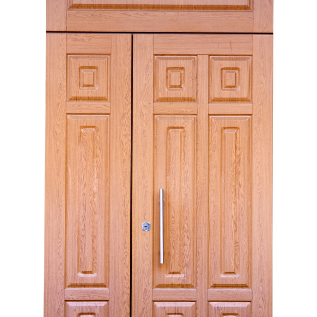"""wooden double door. Isolated over white"" stock image"