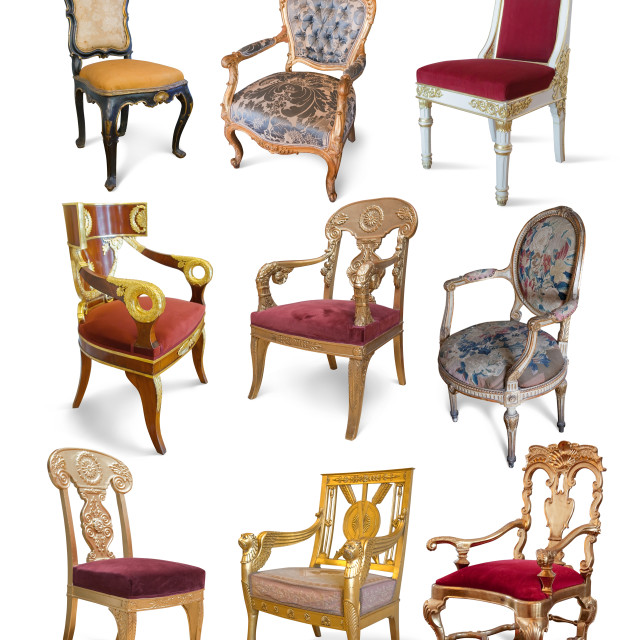 """Vintage chairs over white"" stock image"
