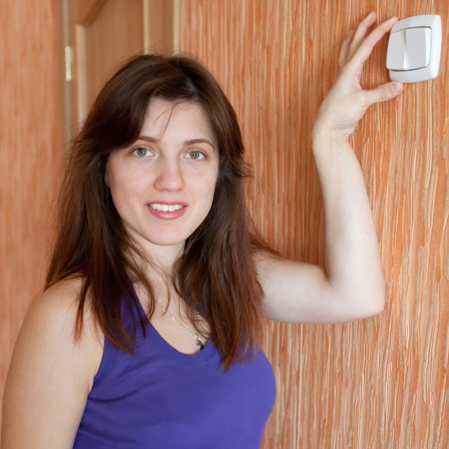 """""""woman with switch in home"""" stock image"""