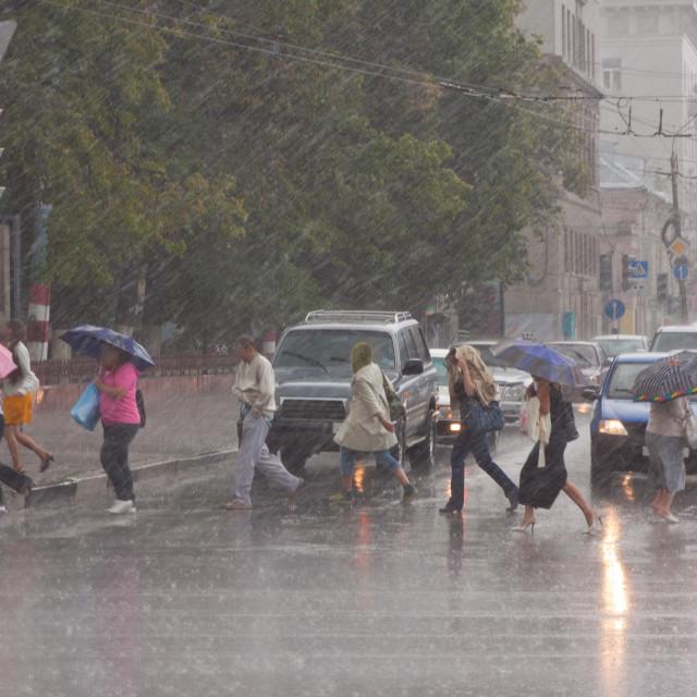 """Rain at city streets"" stock image"