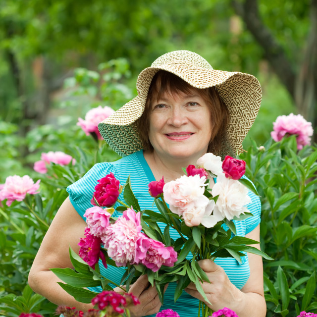"""""""Happy mature woman at garden"""" stock image"""