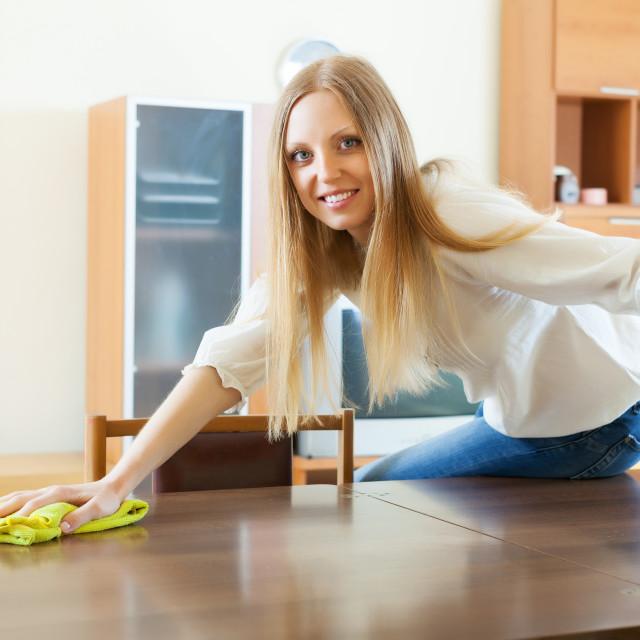 """housewife polishing table with furniture polish"" stock image"